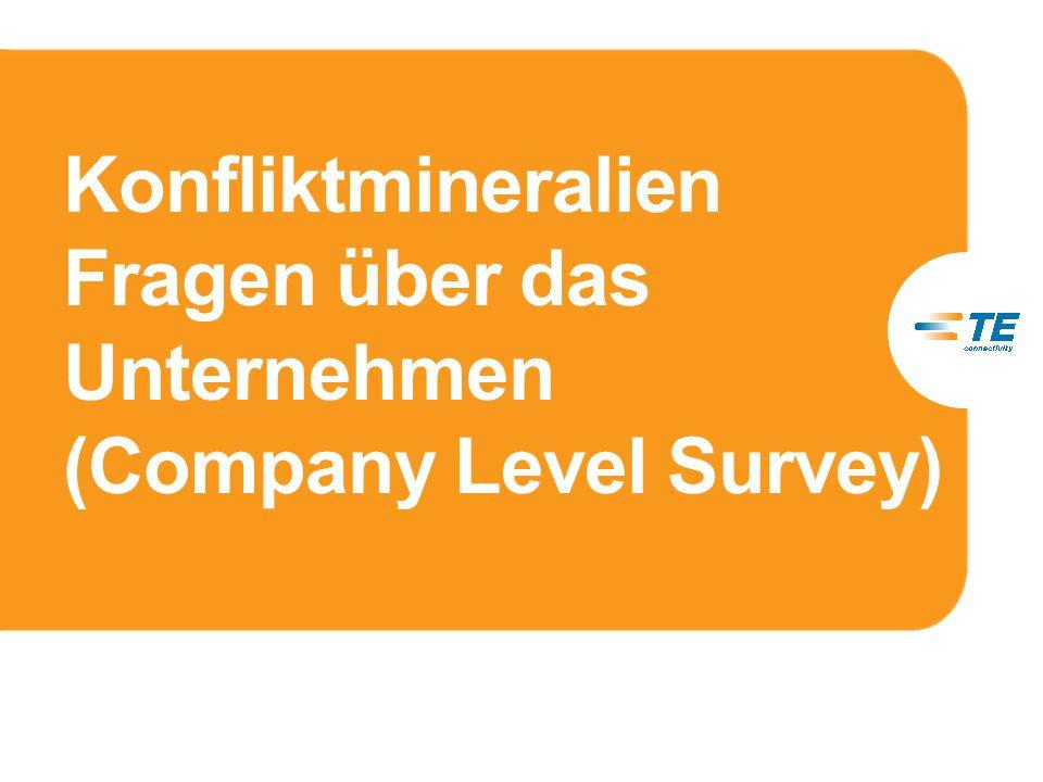 Konfliktmineralien Fragen über das Unternehmen (Company Level Survey)