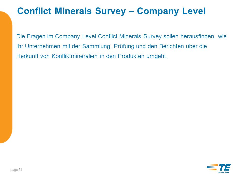 Conflict Minerals Survey – Company Level