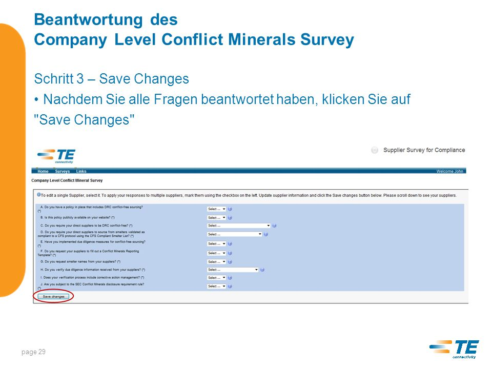 Beantwortung des Company Level Conflict Minerals Survey