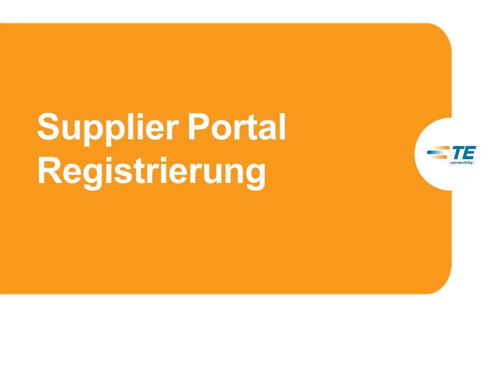 Supplier Portal Registrierung