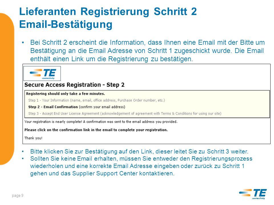 Lieferanten Registrierung Schritt 2 Email-Bestätigung