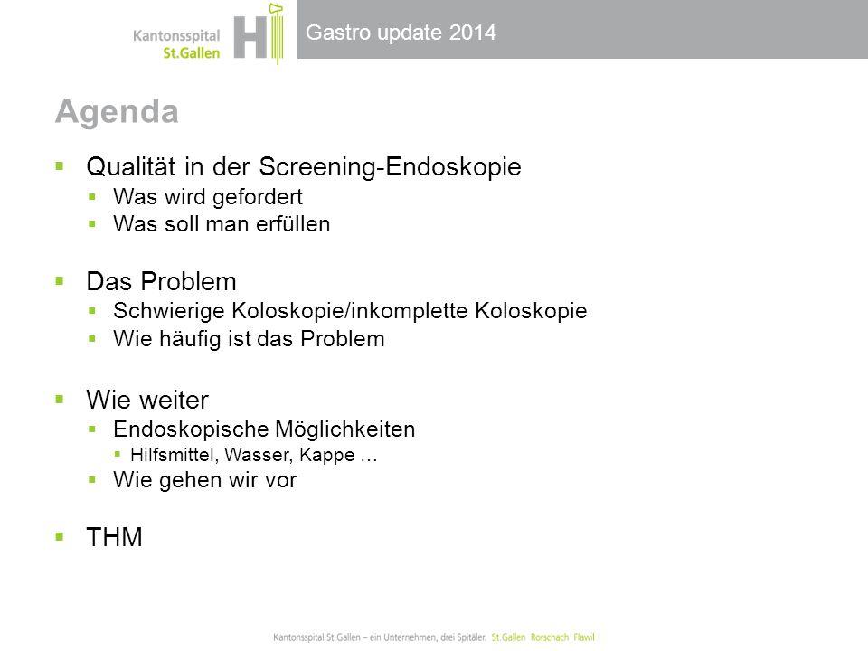 Agenda Qualität in der Screening-Endoskopie Das Problem Wie weiter THM