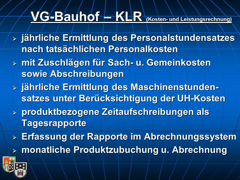 VG-Bauhof – KLR (Kosten- und Leistungsrechnung)