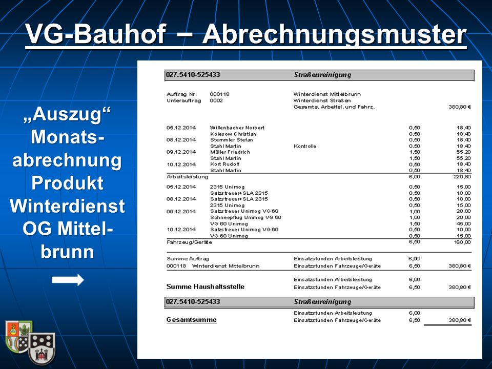 VG-Bauhof – Abrechnungsmuster