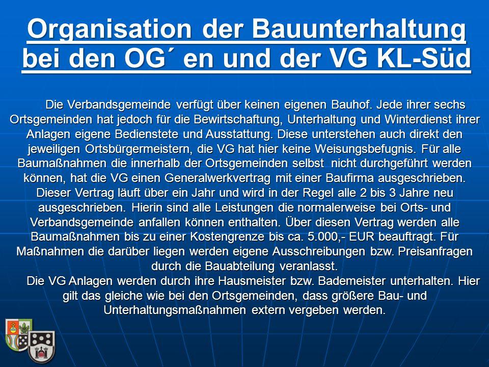 Organisation der Bauunterhaltung bei den OG´ en und der VG KL-Süd