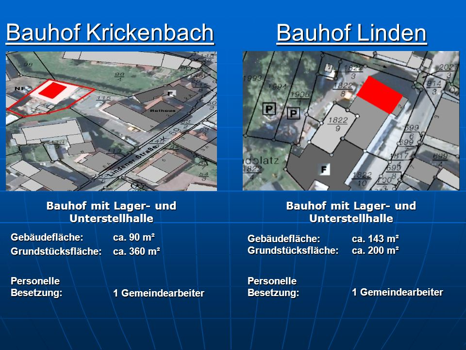 Bauhof Linden Bauhof Krickenbach Bauhof mit Lager- und Unterstellhalle