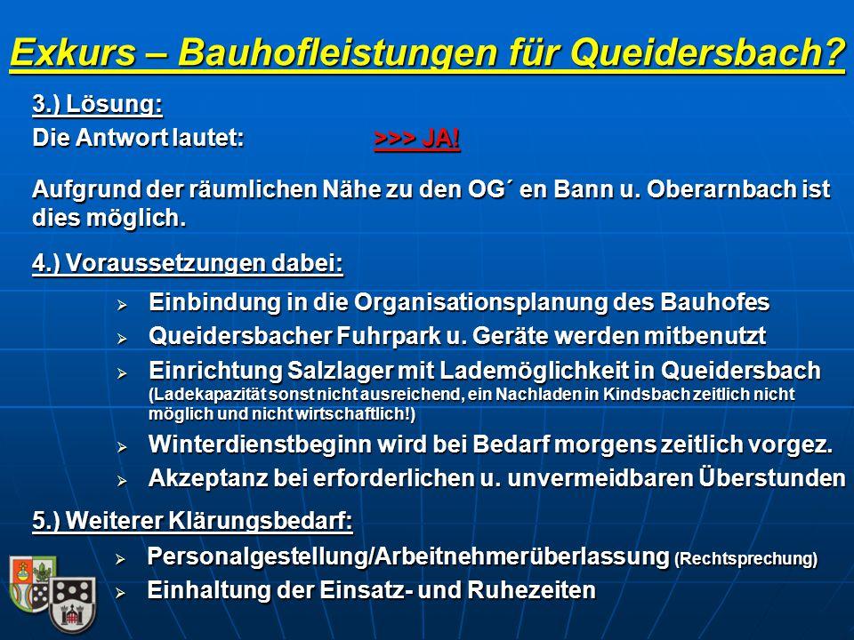 Exkurs – Bauhofleistungen für Queidersbach