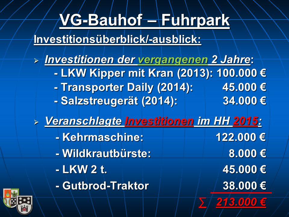 VG-Bauhof – Fuhrpark Investitionsüberblick/-ausblick: