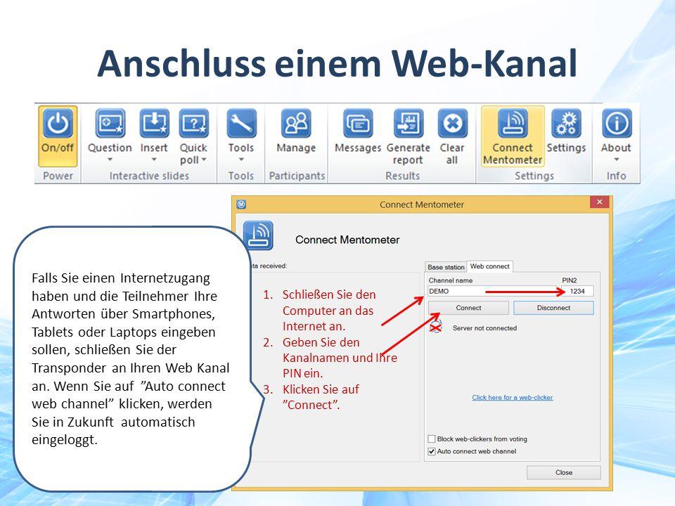 Anschluss einem Web-Kanal