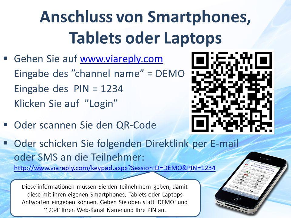 Anschluss von Smartphones, Tablets oder Laptops