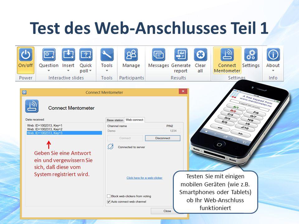 Test des Web-Anschlusses Teil 1