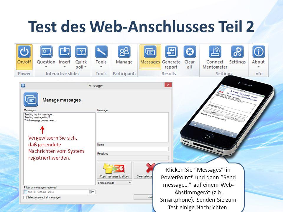 Test des Web-Anschlusses Teil 2