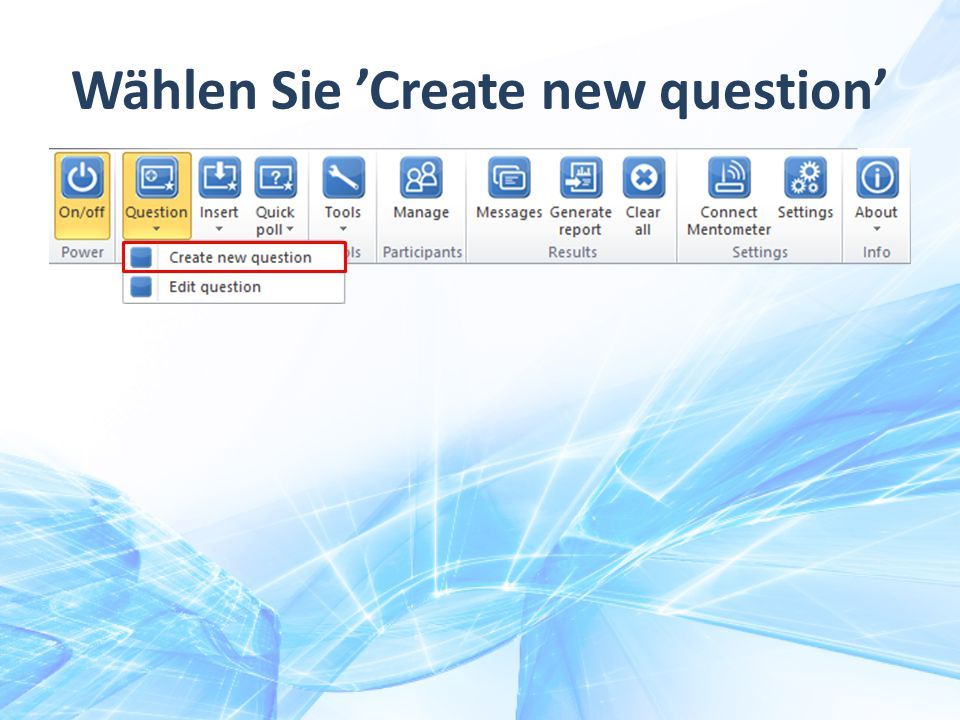 Wählen Sie 'Create new question'