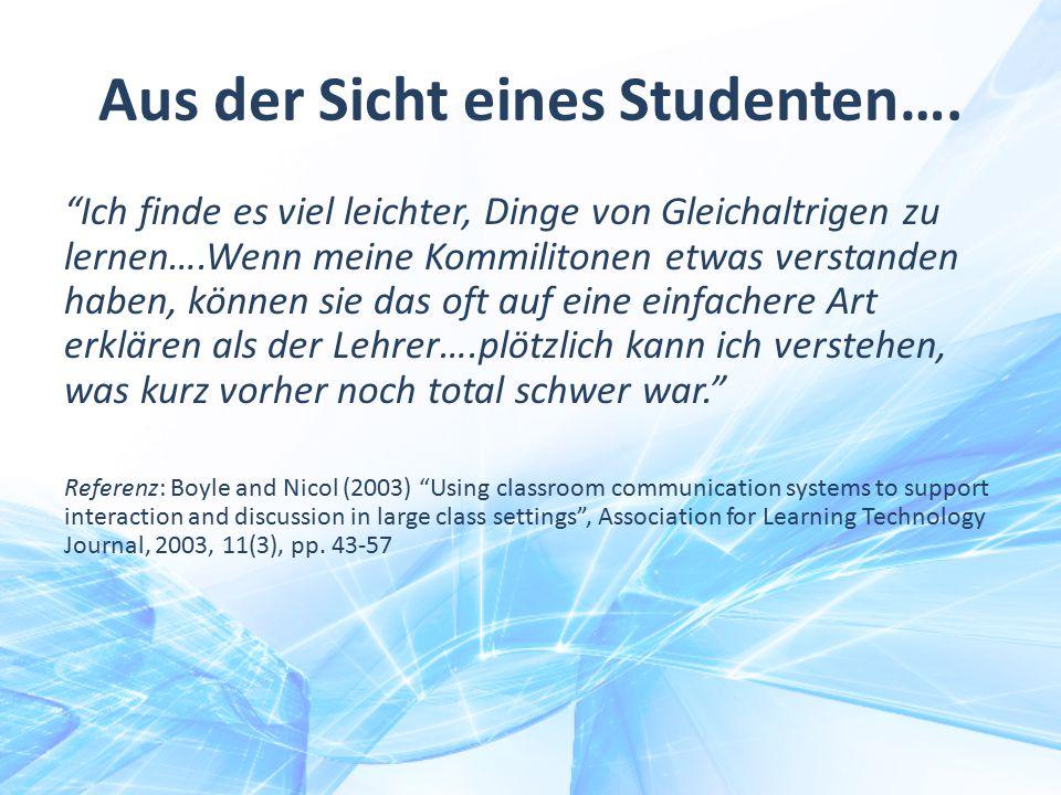 Aus der Sicht eines Studenten….