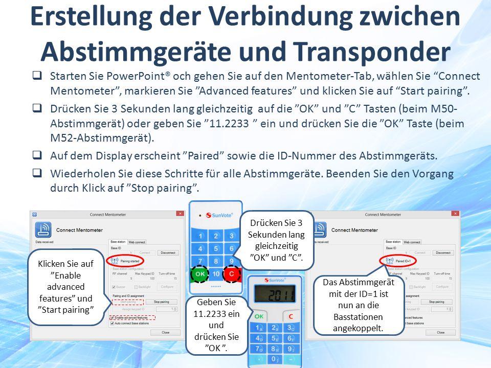 Erstellung der Verbindung zwichen Abstimmgeräte und Transponder