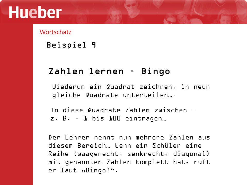 Zahlen lernen – Bingo Beispiel 9 Wortschatz