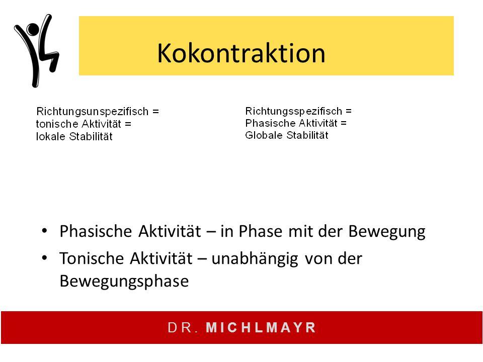 Kokontraktion Phasische Aktivität – in Phase mit der Bewegung