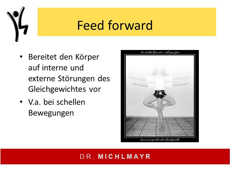 Feed forward Bereitet den Körper auf interne und externe Störungen des Gleichgewichtes vor.