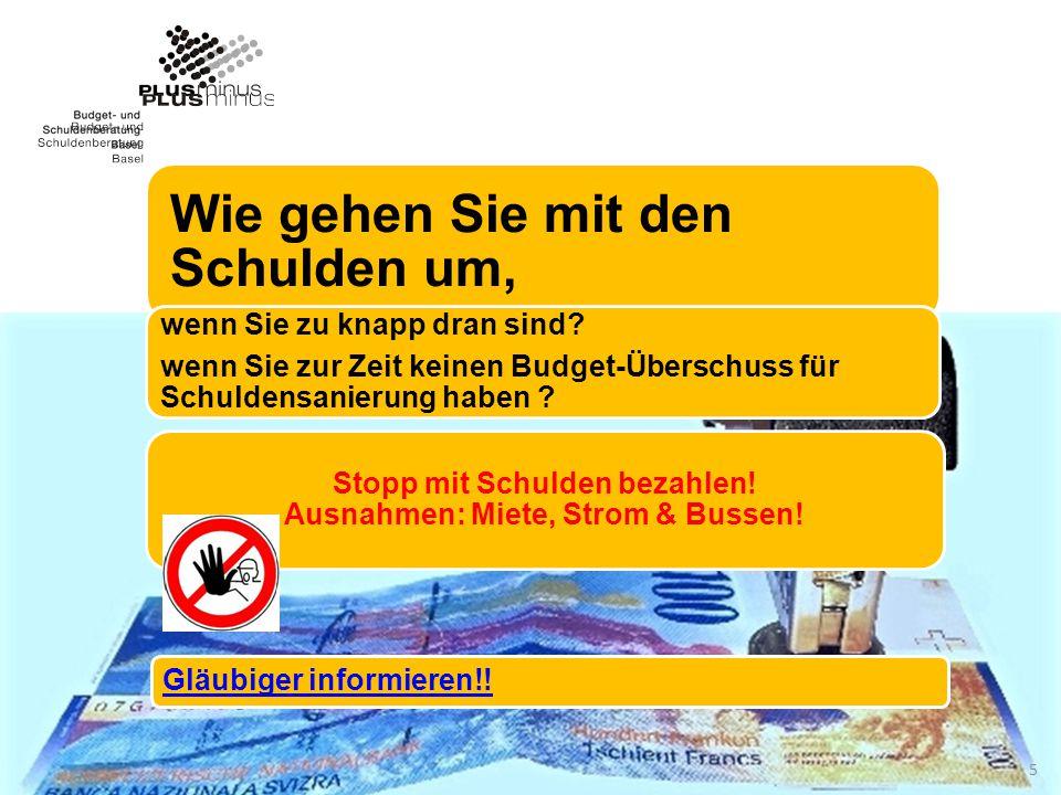 Stopp mit Schulden bezahlen! Ausnahmen: Miete, Strom & Bussen!