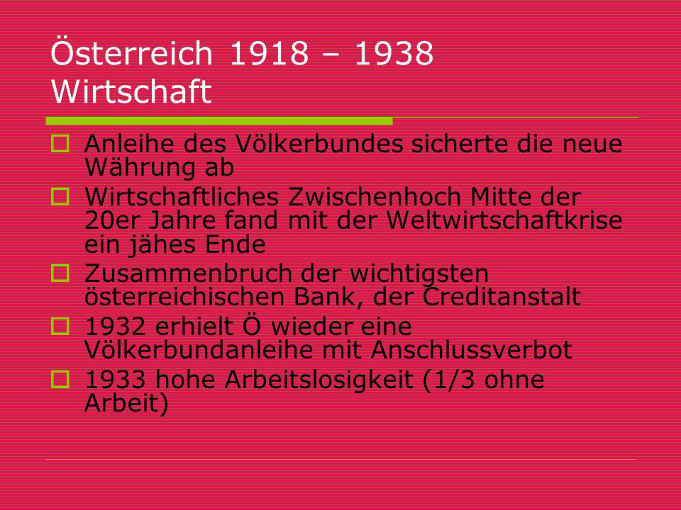 Österreich 1918 – 1938 Wirtschaft