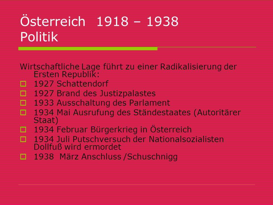Österreich 1918 – 1938 Politik Wirtschaftliche Lage führt zu einer Radikalisierung der Ersten Republik:
