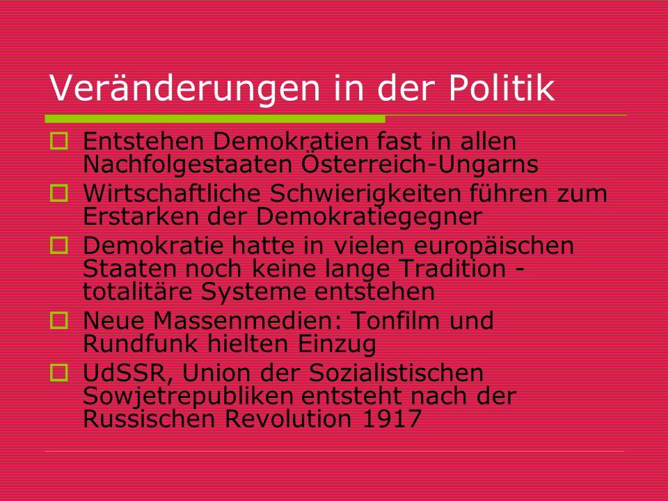 Veränderungen in der Politik