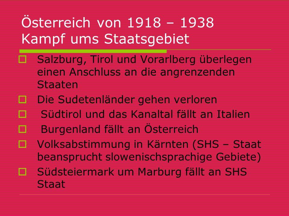 Österreich von 1918 – 1938 Kampf ums Staatsgebiet