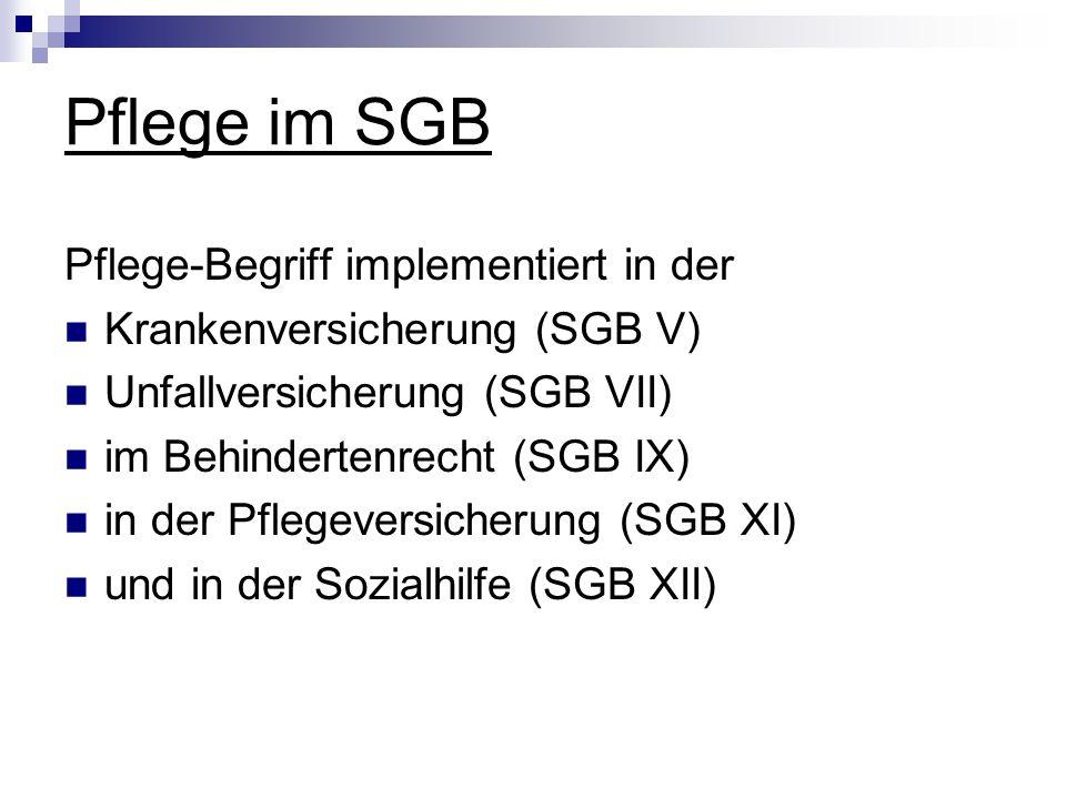 Pflege im SGB Pflege-Begriff implementiert in der