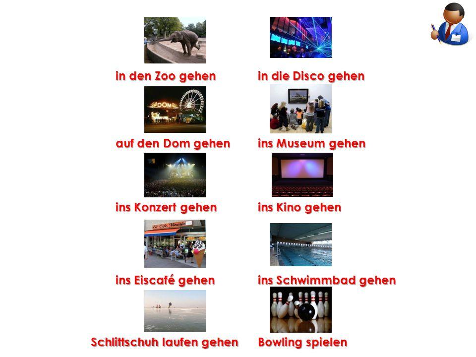 in den Zoo gehen in die Disco gehen. auf den Dom gehen. ins Museum gehen. ins Konzert gehen. ins Kino gehen.
