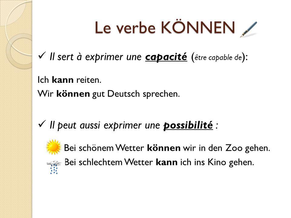Le verbe KÖNNEN  Il sert à exprimer une capacité (être capable de):