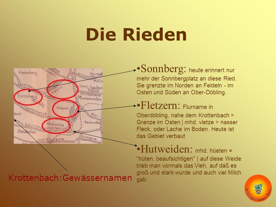 Die Rieden Sonnberg: heute erinnert nur mehr der Sonnbergplatz an diese Ried. Sie grenzte im Norden an Feldeln - im Osten und Süden an Ober-Döbling.