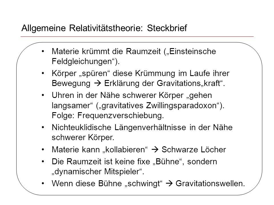 Allgemeine Relativitätstheorie: Steckbrief