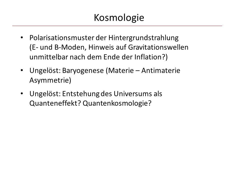 Kosmologie Polarisationsmuster der Hintergrundstrahlung (E- und B-Moden, Hinweis auf Gravitationswellen unmittelbar nach dem Ende der Inflation )
