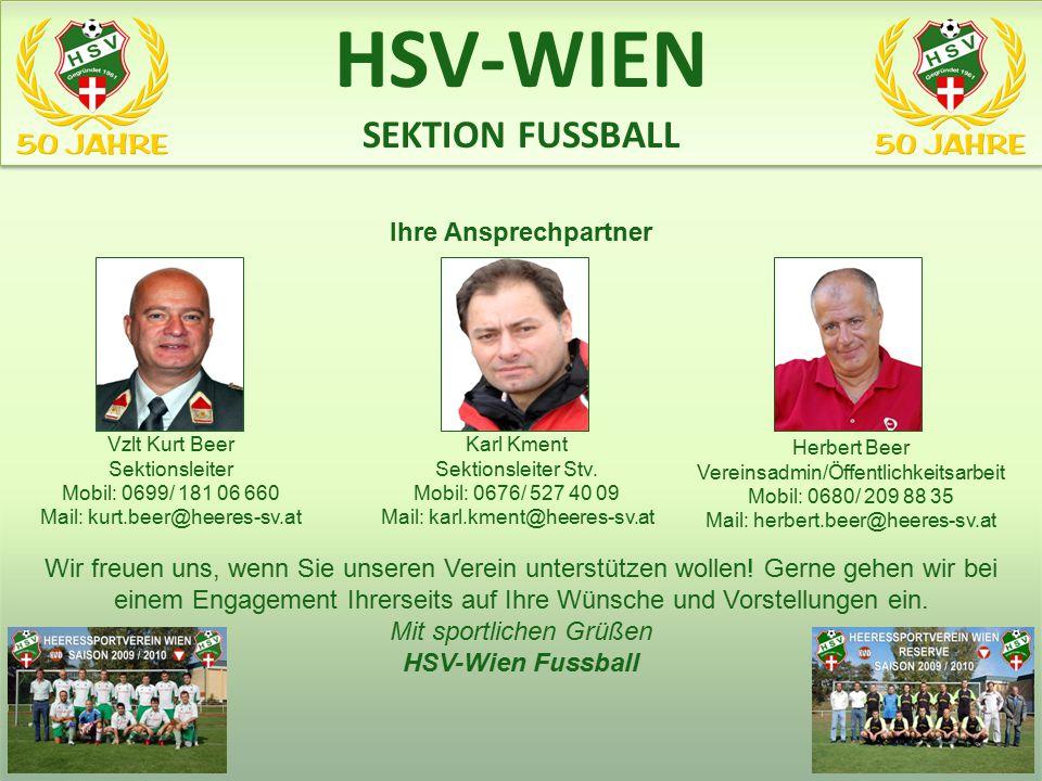 HSV-WIEN SEKTION FUSSBALL www.heeres-sv.at Ihre Ansprechpartner