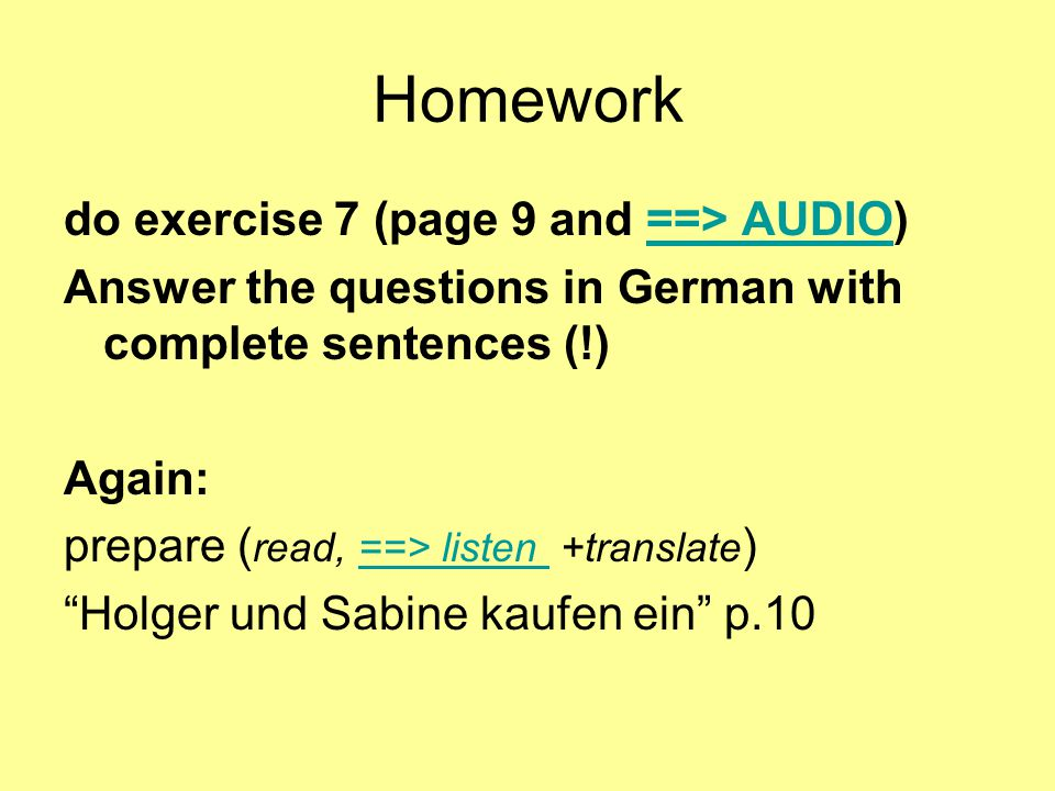 Homework do exercise 7 (page 9 and ==> AUDIO)