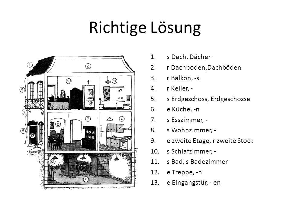 Richtige Lösung s Dach, Dächer r Dachboden,Dachböden r Balkon, -s