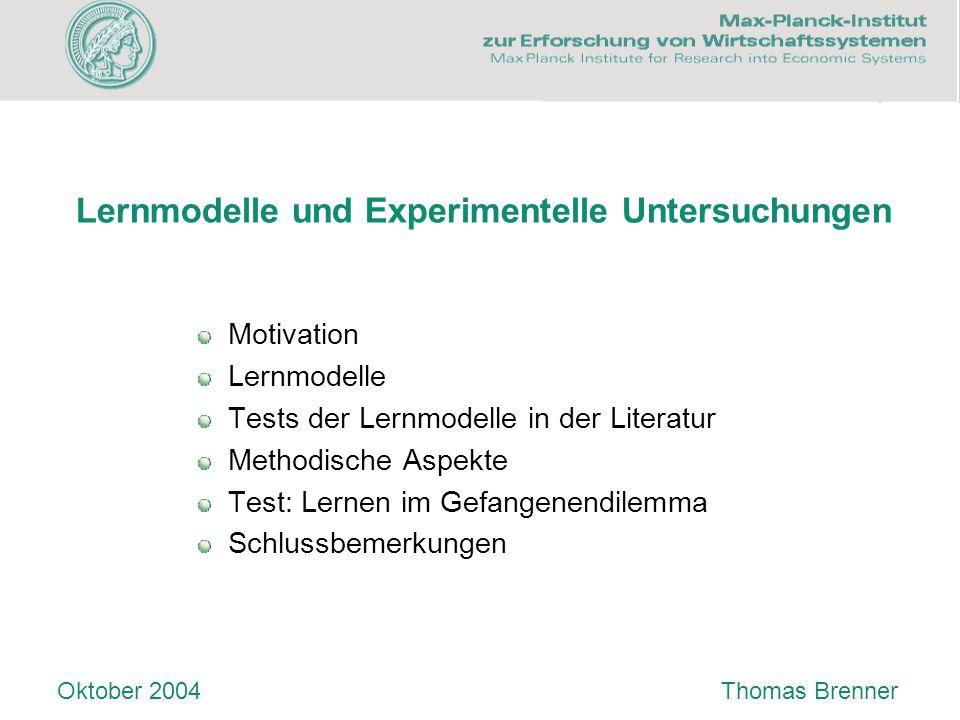 Lernmodelle und Experimentelle Untersuchungen