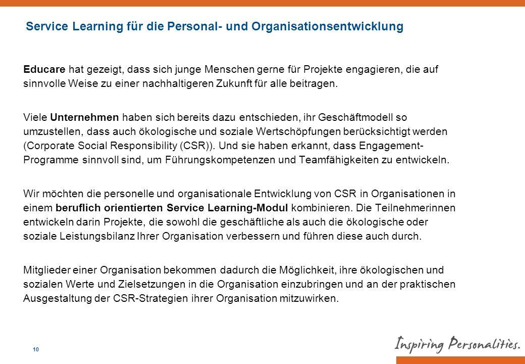 Service Learning für die Personal- und Organisationsentwicklung