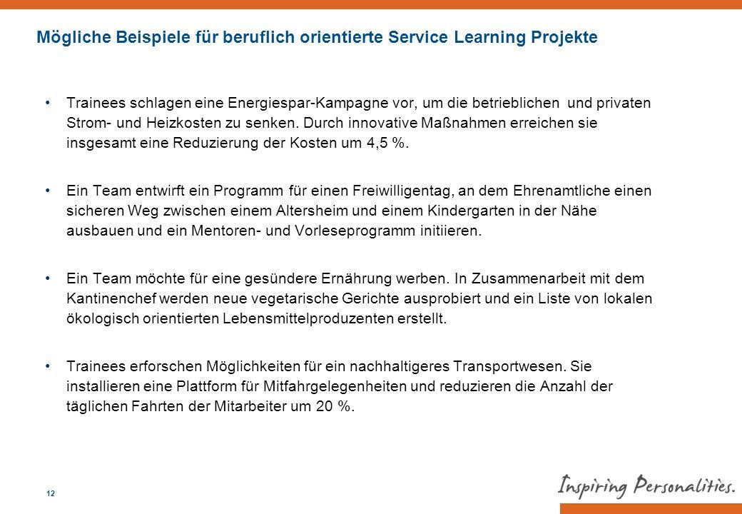 Mögliche Beispiele für beruflich orientierte Service Learning Projekte