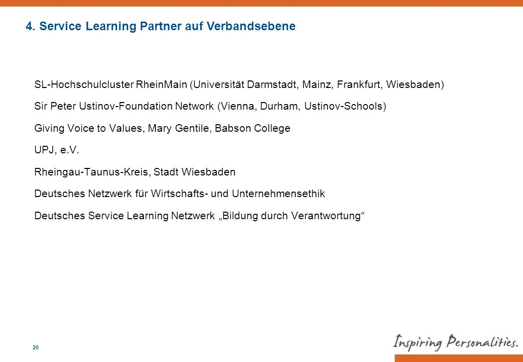 4. Service Learning Partner auf Verbandsebene