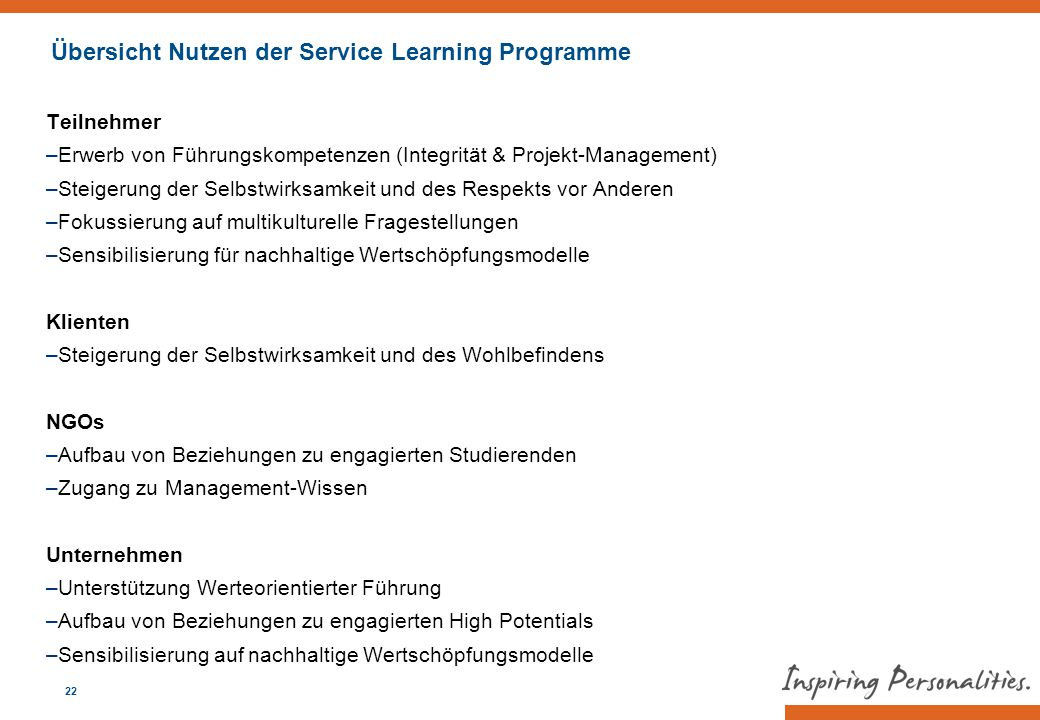 Übersicht Nutzen der Service Learning Programme