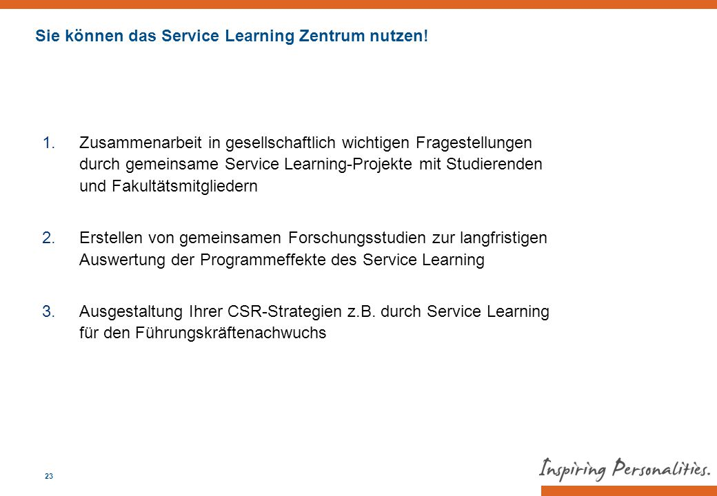 Sie können das Service Learning Zentrum nutzen!