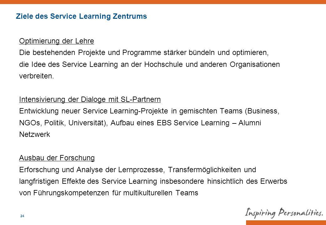 Ziele des Service Learning Zentrums