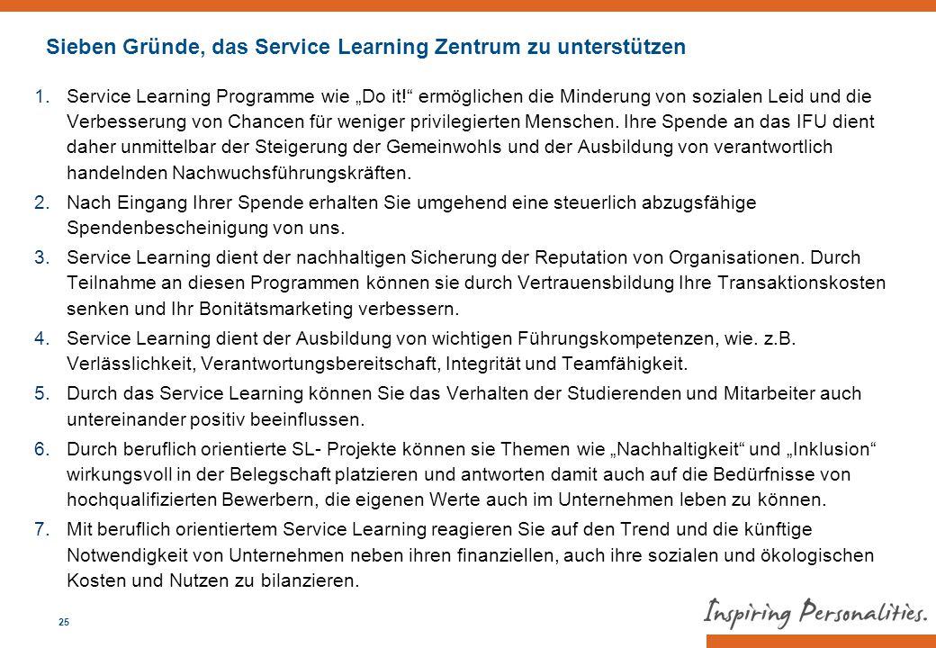 Sieben Gründe, das Service Learning Zentrum zu unterstützen