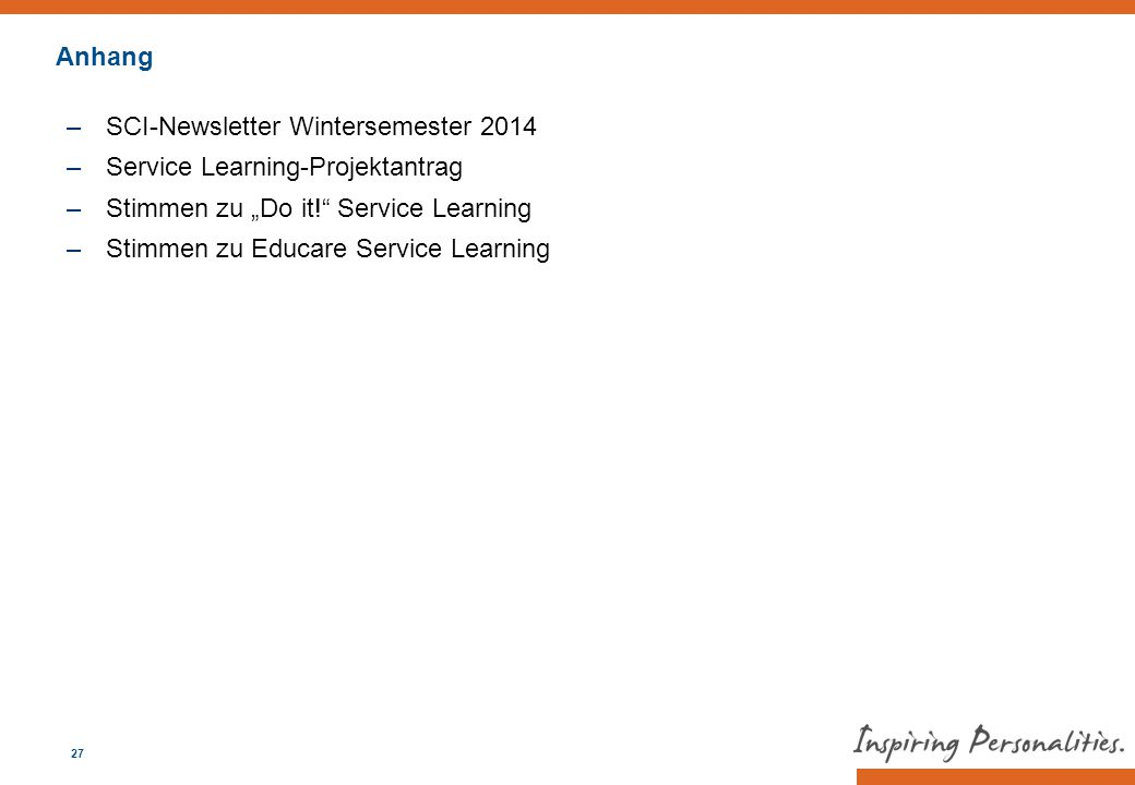 "Anhang SCI-Newsletter Wintersemester Service Learning-Projektantrag. Stimmen zu ""Do it! Service Learning."