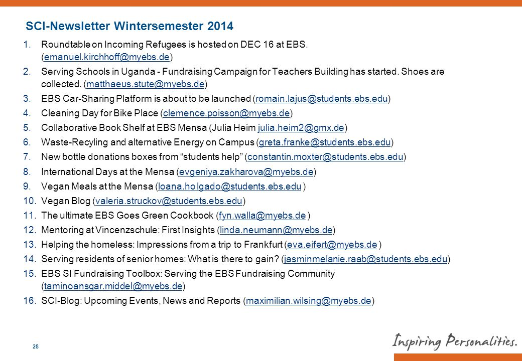 SCI-Newsletter Wintersemester 2014