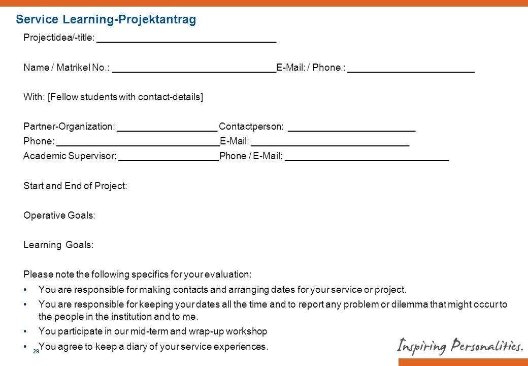 Service Learning-Projektantrag