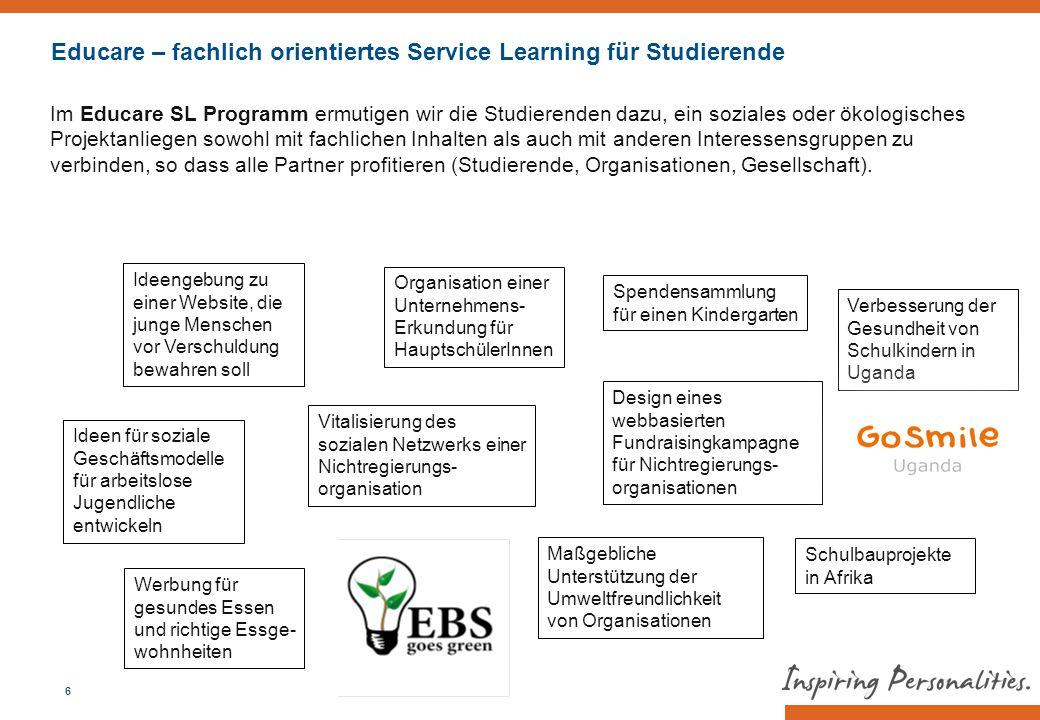 Educare – fachlich orientiertes Service Learning für Studierende