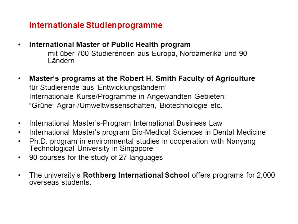 Internationale Studienprogramme