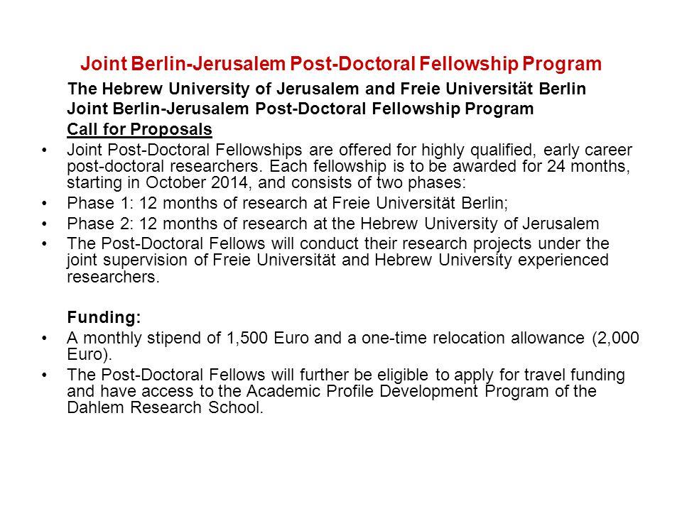 Joint Berlin-Jerusalem Post-Doctoral Fellowship Program